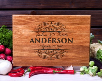 Personalized cutting board Custom gift for Couple Monogrammed cutting board wood cutting board Housewarming gift Anniversary chopping board