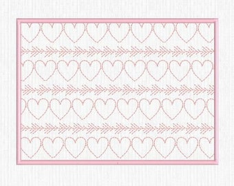 In The Hoop ITH, Machine Embroidery Mug Rug Design Pattern 5x7, Heart and Arrows Quilting