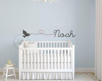 Nursery wall decals Name wall decals Baby boy wall stickers Wall decals for nursery Nursery decals Bird wall decals Love heart wall stencil