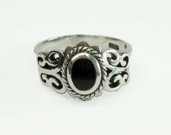 Vintage Open Work Sterling Silver Onyx Statement Ring Size 6