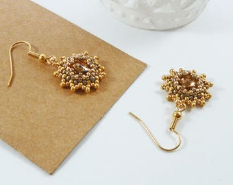 Gold Flower Earrings, Swarovski Crystals, Prom Jewellery, Gift For Her, Bridal, Wedding, Sparkly, Gold Beads, Chandelier, Star Earrings