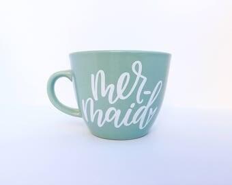 Mermaid | White Vinyl | 16oz Teal Stoneware Mug | Handlettered | Coffee & Tea