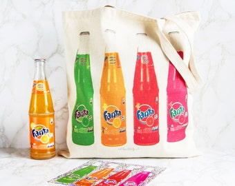 Tote Bag - Cotton ecru - Pop Art - Bottles of Fanta
