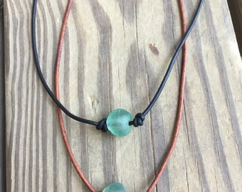African glass and leather necklace - Boho necklace - beach glass - layering necklace - leather necklace - beach necklace - recycled glass