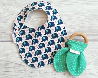 Elephant Baby Bib and Teether Gift Set / Drool Bib / Wooden Bunny Ear Crinkle Teether / Teething Toy / Gender Neutral / Elephants