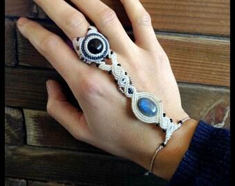 Onyx and Labradorite Macrame ring bracelet\handmade micromacrame