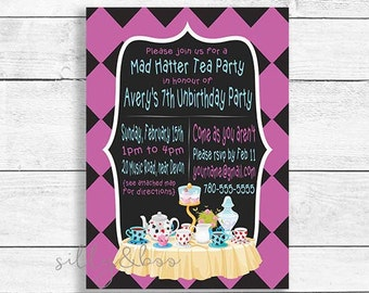 Birthday Invitation, Mad Hatter Invitation, Mad Hatter Tea Party Birthday, Alice in Wonderland, Mad Hatter, DIGITAL FILE ONLY
