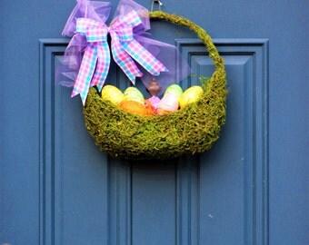 Easter Basket Wreath , Easter Door Basket , Moss Basket , Easter Eggs , Easter Decoration , Spring Decor , Basket of Eggs , Wreath Obsessed