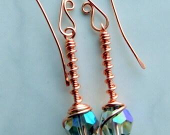 Crystal Drop Earrings, Copper Drop Earrings, Swarovski Crystal Earrings, Wire Earrings, Copper Jewelry, Crystal Jewelry, Jewelry Handmade
