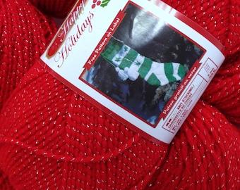 Christmas Yarn Red Heart Holiday Bernat Happy Holidays Bright Red Sparkle Yarn Worsted Acrylic Christmasy Yarn Destash Bundle Silver Spark