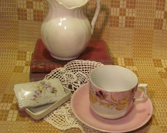 Antique Ceramic Collection Ironstone Pitcher Lusterware Cup & Saucer Porcelain Box