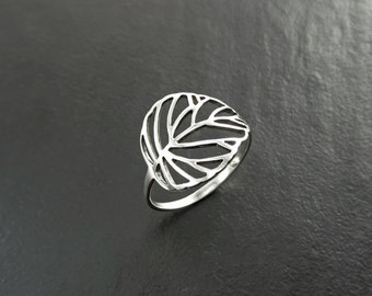 Ficus Leaf Ring, Sterling Silver, Rubber Plant Ring, Filigree Branch, Open Work Ring, Skeleton Leaf Veins Ring, Tropical Nature Jewelry