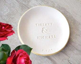 PERSONALIZED NAMES ring dish, Custom Wedding gift, Engagement gift, date ring dish, wedding ring holder, silver ring dish, gold ring dish