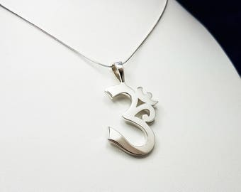 Silver OM Pendant with Chain