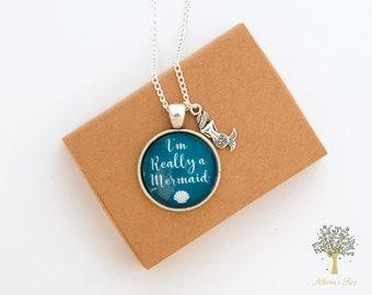 Mermaid Necklace, Mermaid Gift, Mermaid Jewellery, I'm Really a Mermaid, Secret Mermaid, Mermaid Jewelry, Mermaid Charm, Silver Necklace