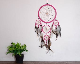 Dream Catcher Pink Color 5 Circle Wall Hanging Home Decoration Bead Feathers Suede Nylon dreamcatcher handmade boho long 22 inches