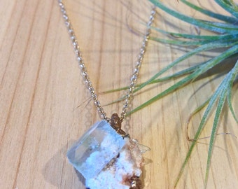 Clariuidens Apophyllite Pendant // Handmade Crystal Necklace // Lost wax cast bronze crystal pendant