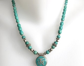 Om pendant necklace, Turquoise necklace, Tibetan necklace,