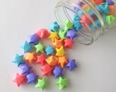 48 Neon Rainbow Origami Stars: Red - Orange - Yellow - Green Blue Purple - Mini Star Decorations - Folded Paper - Lucky Stars - Pride - LGBT