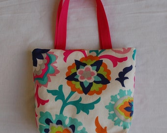 Fabric Gift Bag/ Small Tote/ Hostess Gift Bag- Floral