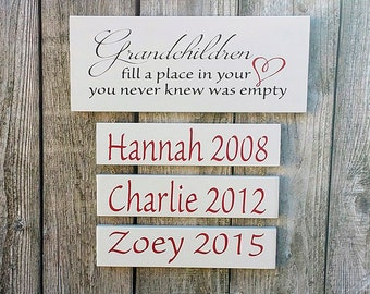 Grandchildren fill a place, Personalized Grandparents sign, Grandchildren sign, Grandmother gift, Grandchildren Sign, Grandmother