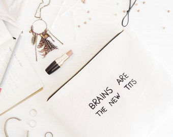 Large makeup bag w/ fun quote Bridesmaid gift Monogram clutch Makeup organizer Birthday Christmas gift Statement zipper pouch Cosmetic bag