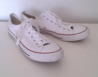 Vintage Chuck Taylor All Star Converse White Canvas Lo Top Tennis Shoes Sneakers Sz 13 Men's Classic