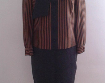 Vintage 1960's Charcoal Grey Tan Striped Knit Suit Set Tie Collar Sz Small Med Mad Men Ladylike