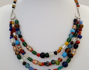 Multi strand multi coloured glass necklace