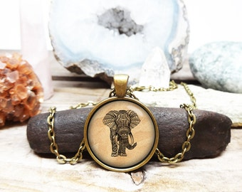 elephant necklace elephant jewelry elephant pendant elephant coin elephant art necklace Spirit animal gift sacred creature collection