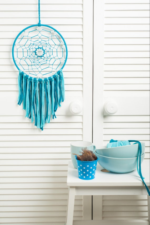 Turquoise Dream Catcher, medium dreamcatcher, bedroom decor, wedding decor, boho style, wall hanging, wall decor, handmade dreamcatcher