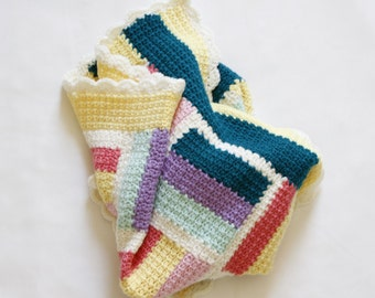 Crochet Baby Blanket, Pastel Colours, Pure Wool Blanket, Baby Gift, Baby Shower Gift, Pram Blanket, Baby Mat, Quilt - READY TO SHIP