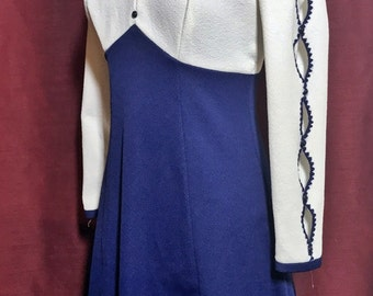 Vintage Navy & White Long-sleeved Dress, appx size 6