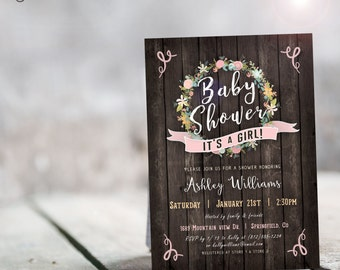 Baby Shower Invitation Rustic Girl - Printable DIGITAL FILE