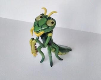 Praying Mantis sculpture, Praying Mantis figurine, Praying Mantis Decor, Polymer clay insect, Polymer clay praying mantis,