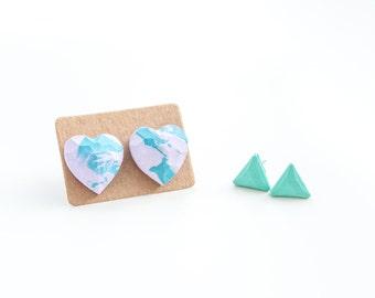 Heart Stud Earring Set of 2 Tiny Stud Earrings Set Cute Pastel Studs Tiny Earring Studs Pastel Earrings Triangle Studs Tiny Mint Earrings