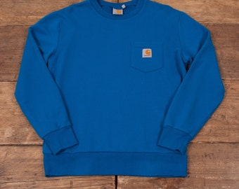 "Mens 90s Vintage Carhartt Sweatshirt Jumper Blue S 36"" R3854"