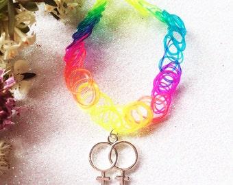 Double Venus Rainbow Tattoo Choker