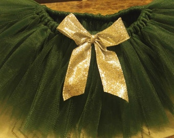 Green and Silver tutu, Christmas tutu, Baby girl outfit, Glitter silver bow, holiday tutu