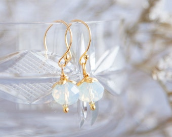 Radiant Opalite Earrings, Opalite Earrings, Boho Earring, Boho Opalite Earrings, Opalite Gold Earrings, Tiny Boho Earrings, Gifts for Her