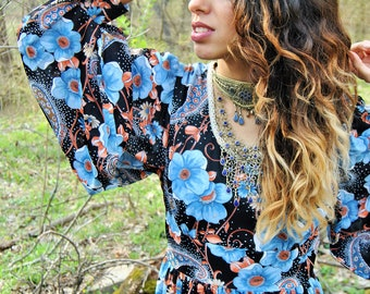 70s blue floral maxi dress, vintage, hippy, gypsy, festival, flowing dress, boho, summer fashion, long dress, gifts for her