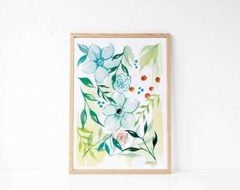 BLUE FLOWERS : Watercolor painting, painting tropical flower, illustration in watercolors, flowers watercolors