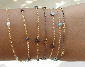 Delicate Rondelles Bracelets / Pearl / Hematite Star&Heart / Blue Black Crystals / Gold Plated Beads / Silver 925 Chain Oxidized-Gold Plated