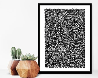"Black and White Art, Art Prints, Home Decor, Abstract Art, Wall Art, Modern Art, Home Decoration, Maze Art Print, Minimalist Art,  9"" x 12"""