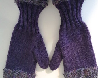 Women's Purple Embellished Fuzzy Woolen Mittens