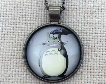 Totoro Ghibli Anime Handmade Vintage Boho Silver Glass Pendant Necklace. Jewellery Gift for Women Girlfriend Wife Fiancee Girl Valentine.
