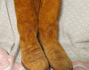 Vintage Suede Cowboy Boots - Vtg 70's Boots