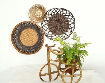 Rattan Bicycle Planter, Tricycle Plant Holder