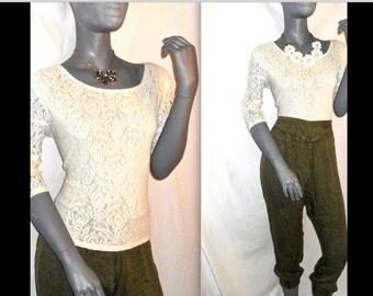 Ivory/White Floral Lace Three-Quarter Sleeve Scoop Neck Blouse/Top L