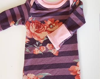 newborn gown - infant gown - infant clothes - newborn girl - baby girl clothes - floral newborn clothes - baby clothes - baby gown